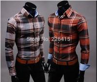 Free Shipping 2014 spring men casual shirt slim fit casual long-sleeve plaid shirt HOT SALE M-XXL camisa social masculina