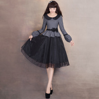 [LYNETTE'S CHINOISERIE - YHT ] Autumn Women Plus Size Elegant Vintage Peter Pan Collar Organza Woolen Dress Sz S M L XL XXL XXXL