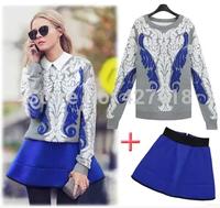 New 2014 fashion women clothing set autumn and winter blue white porcelain jacquard sweater blue short skirt 2pcs women's sets