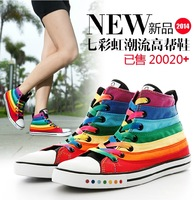 New 2014 Top Quality Fashion Rainbow Design Flats Canvas shoes For Women,Women's Colorful Balance High Sneakers,Autumn Boots.