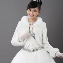 2014 Wedding wrap white/red bride  marryshawl faux fur long-sleeve coat wholesale(China (Mainland))