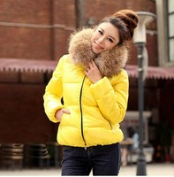 2014 Hot Large fur collar Candy color Thickening Cotton-padded jacket Short design slim wadded jacket Down & Parkas Women