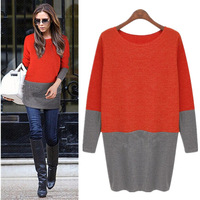 Fashion autumn 2014 women's medium-long o-neck long-sleeve basic one-piece pullover sweater dress