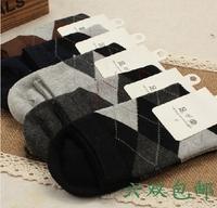 Double male 6 100% dimond plaid cotton knee-high socks commercial socks anti-odor socks