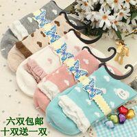 Small heart 2014 100% cotton knee-high socks all-match 100% cotton socks small fresh socks