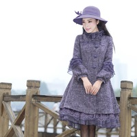 [LYNETTE'S CHINOISERIE - YHT ] Autumn Women Plus Size Elegant Loose Lace Patchwork Purple Woolen Overcoat Sz S M L XL XXL XXXL