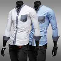 2014 Mens casual shirt stand collar color block decoration mens dress shirts slim fit long-sleeve camisa social masculina