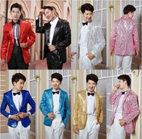 ( Jacket + pants + bow tie ) 2014 New fashion sequins Men suits slim Dress suit men's groom's wedding dress