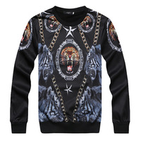 2014 fashion chains lion head o-neck sweatshirt men's clothing