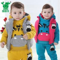 Children's winter guard garments vest 3 pcs cotton 2014 new child clothing cotton children suits wadded jacket pants sets
