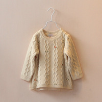 New 2014 fall&winter children's clothing girls child kids the back double layer yarn stereo small flower pullover sweater