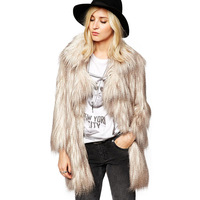 2014 Winter New Women's Fashion Faux Gradient Color Peacock Wool V-neck Hook Fur Overcoat Outerwear