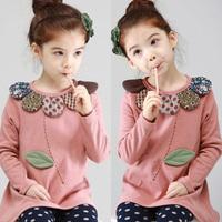 2014 autumn flower girls clothing baby child long-sleeve T-shirt dress clothes tx-23136