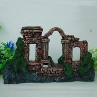 Aquarium Ornament Decorations Ruin Castle L29cm with holes for fish tank decor free shipping