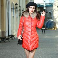 Winter women's slim down coat with a hood fur collar medium-long down coat