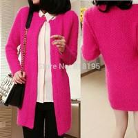 2014 women's medium-long mohair cardigan outerwear thickening women's kinted sweater