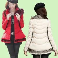 free ship winter women coat 2014 new slim fashion jacket Ruffle collar overcoat warm thicken down-cotton slim parka SizeM-XXL
