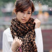 79369 2014 ! Fashion thermal fluid ultra long pleated print leopard print scarf dual cape