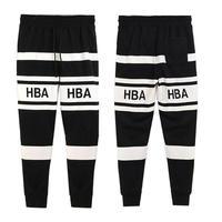 HBA HOOD BY AIR Black and white stripe men's health pants plus velvet trousers sports pants
