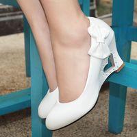 Women's wedges shoes Women autumn single shoes white leather yellow black nurse shoes plus size shoes