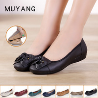women's genuine leather single fashion flat shoes plus size casual beautiful shoes flat cow muscle outsole genuine leather shoe