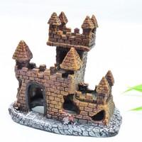 Fish tank aquarium decoration resin castle wall L11cm*H10cm*W6.5cm free shipping