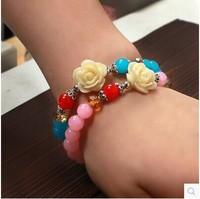 E5112 bohemia national trend all-match female multicolour beads flower bracelet crystal lucky bracelet