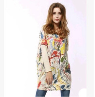 Hot-selling 2014 autumn fashion doodle loose plus size batwing shirt maternity clothing loose sweater