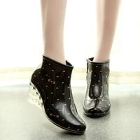 2014 women cutout water woman platform shoes wedges female waterproof slip-resistant ankle boot short rainboots shoes rainboot