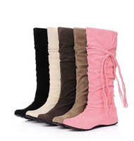 New Fashion women's Ladies Sexy Knee high Long Boots Low Heel Winter Autumn women Shoes Slip-on Brown Folding Casual Shoe