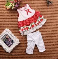 September new summer Girls Strawberry Sleeveless tank top + pants children's clothing sets 5set/lot #31065