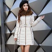 Women's quality fashion slim down coat with a hood large fur collar medium-long down coat