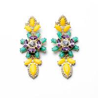 Accessories fashion earring alloy gem crystal Drop Earrings huge candy earrings