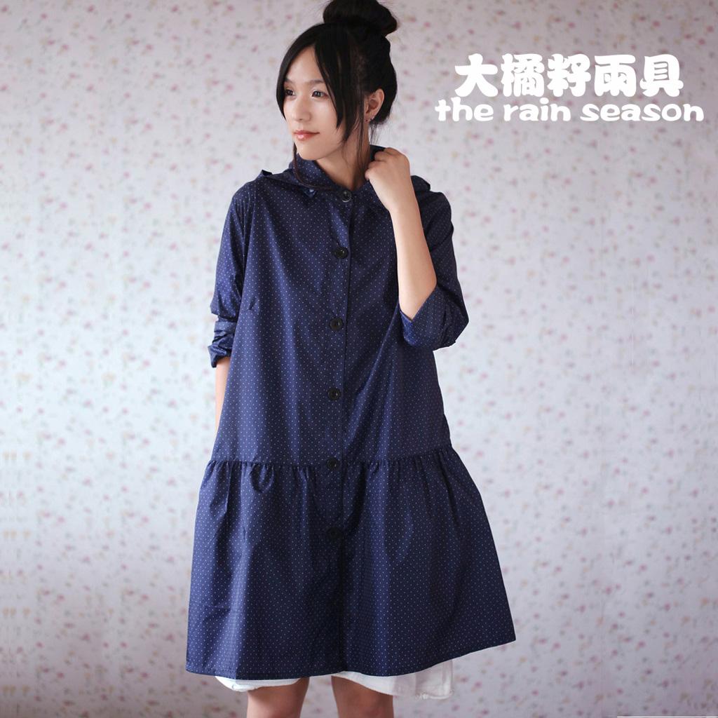 2014 Fashion cute blue polka dots adult raincoat women rain ponchos female outdoors travel quick-drying thin trench coat Russia(China (Mainland))