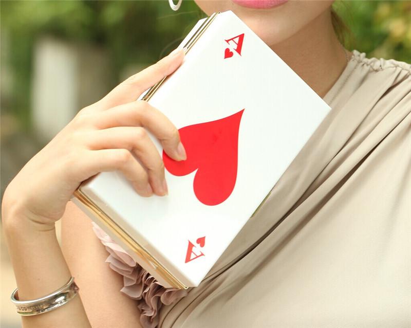 2014 new arrivwl black heart peach red poker bag acrylic day clutch banquet bag a female clutch bridal bag women handbag wallet(China (Mainland))