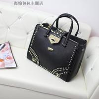 Fashion genuine leather cowhide women's handbag cross rivet one shoulder cross-body handbag large bag