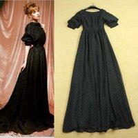High quality 2014 sexy deep V-neck back puff sleeve polka dot black floor length extra long evening dress