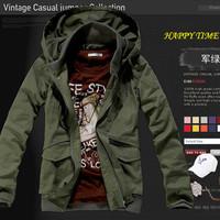 2014 male thin jacket outerwear male mens hooded jacket leisure field