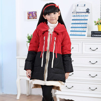 2014 child down coat girl child down coat tooling color block decoration thickening children's clothing down coat winter outwear