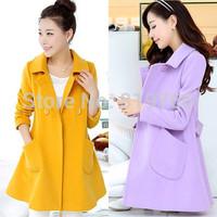 New 2014 Popular Autumn Winter clothing Women Woolen coat female medium-long sweet slim cloak outerwear woman wool overcoat