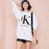 2014 Autumn Women's Fashion Sports Wind Pullover Top Outerwear Letter Printed Long Sleeve White Loose Sweatshirt