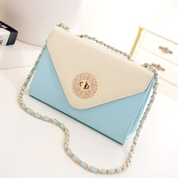 2014 female patchwork color block small bags women's handbag one shoulder cross-body bag the trend of bag chain
