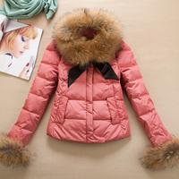2014 Winter women's slim pocket large fur collar short down coat design wadded jacket thermal outerwear Free shipping