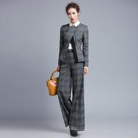 2014 autumn plaid blazer outerwear wide leg pants female set twinset ks739a14