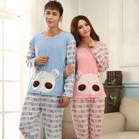Spring and autumn thin 100% cotton male women's long-sleeve lovers sleepwear cartoon female lounge set