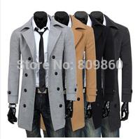 2014 winter Men trench male slim trench long wool overcoat