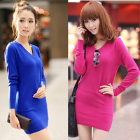 8901 spring and summer women's all-match V-neck long-sleeve sweater pullover long design basic shirt sweater female
