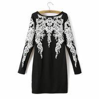Women's vintage pattern print long-sleeve strapless casual dress winter