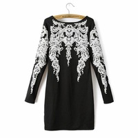 Women's vintage pattern print long-sleeve strapless casual dress winter