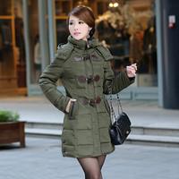 2014 winter down coat medium-long horn button slim down coat
